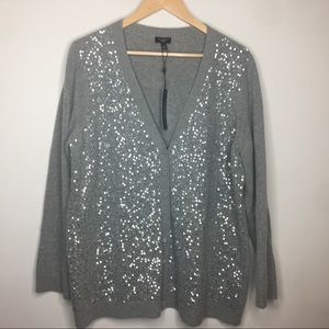Talbots Cardigan Sequins Gray Plus Size 1x NWT